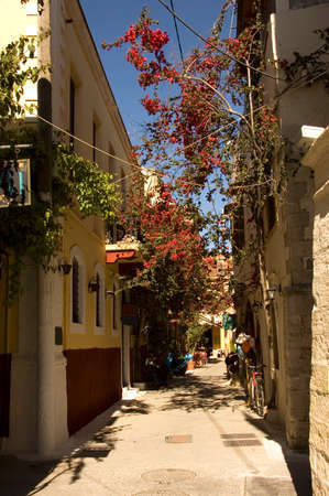 back alley of the old district of Chania village in Crete Island, Greece with typical Greek houses and bougainvillea