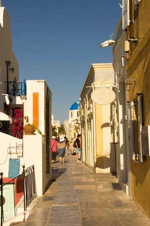 santorini greece: tourists shopping in Oia Village, Santorini, Greece Stock Photo
