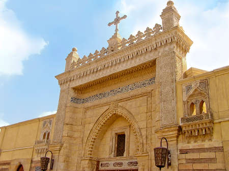 entrance from the street of Hanging Coptic Church  (El Muallaqa) in Cairo, Egypt, Africa