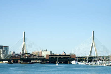 Sailiing  boats and ships  around Zakim Bridge on St Charles river,  Boston, Massachusetts