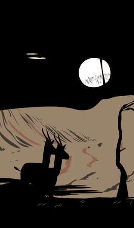 Be my Antelope Valentine - Antelope lover at moonlight - vector Фото со стока