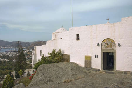 icone: Grotto of St John the Theologian in Patmos island, built over the rocks, Greece,  Unesco World Heritage Site Stock Photo