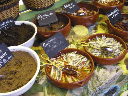 Variety of Anchovies and anchovies pasta in French market