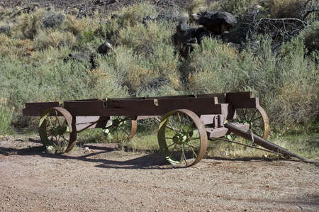 Old  pioner hay wagon in the fields of Utah photo
