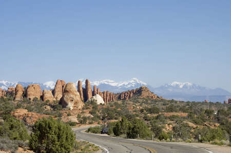 Panoramic view of The Parade of Elephants rocks  in  Arches National Park,  Utah, USA