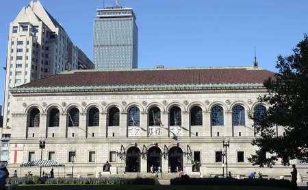 boston skyline: Boston Public Library on Copley Square, one of the most sophisticated areas of the city with Prudential tower in the back
