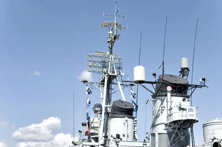 destroyer: The control tower on the WWII Navy destroyer USS Cassin, Boston, Massachusetts