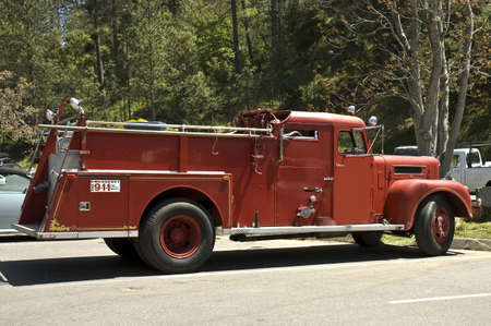 antique firefighters truck 1940s year,  on parade in California photo