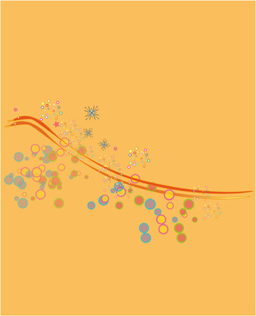 abstract birds on an orange background, design element