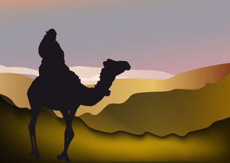 silhouette of a man on a camel in Sahara desert Stock Photo - 4137443