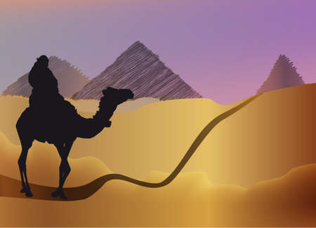 silhouette of a man on a camel on road to Pyramids, Egypt Stock Photo - 4137492