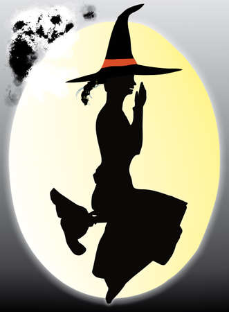 sympathetic: illustration of a sympathetic witch sit on the moon riding on broomstick -halloween concept Stock Photo