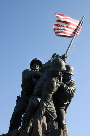 marine: Washington, DC, USA - June 24, 2007     Iwo  Jima memorial dedicated to the U S  Marines corps in Arlington National cemetery, VA - close up view