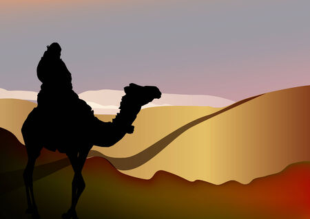 vector silhouette of a man on a camel in Sahara desert 일러스트