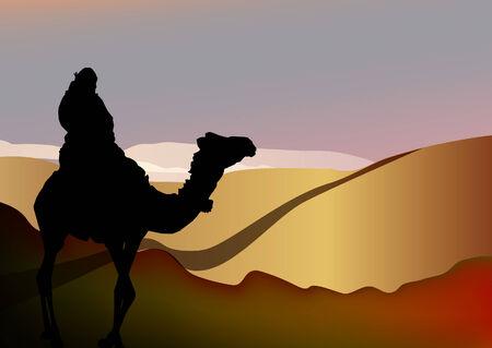 vector silhouette of a man on a camel in Sahara desert Vectores
