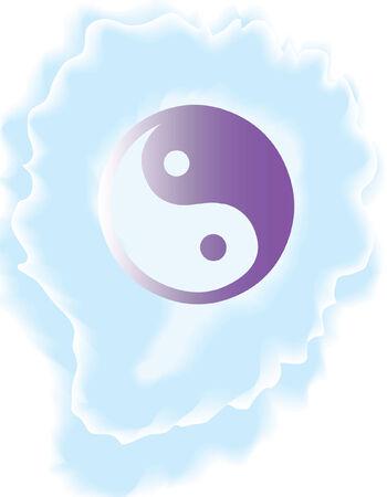 Yin Yang symbol, vector design with watercolor brush