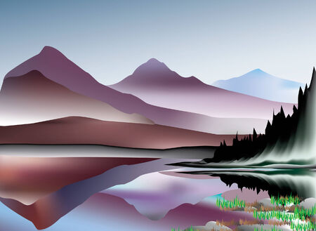 Mountains and reflections on a lake, vector illustration layered