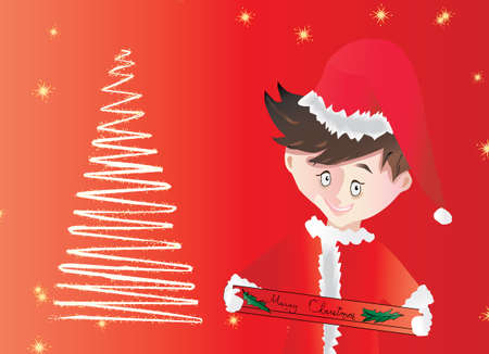 Little boy wearing a Santa Claus suit on a starry red background with Christmas tree