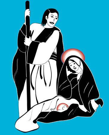 Presepe di Natale con Maria e Giuseppe e il bambino Gesù vettoriale eps file incluso Archivio Fotografico - 5993963