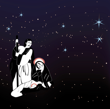 Christmas nativity scene under starry night sky  vector eps file included