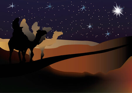 three Wise men nativity scene on a starry background