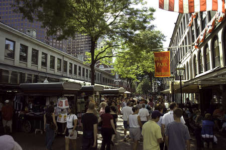 BOSTON,MASS - SEPTEMBER 9: Street scene in Quincy Market in Boston Mass, with restaurants, stores and people shopping, Boston,Mass. USA, September 9,2005