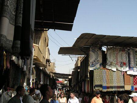 EDFU; EGYPT - MARCH 3:Tourists and merchants in the Edfu souk; Edfu; Egypt. 3 March 2005;