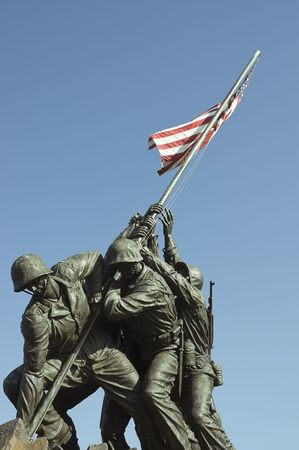Washington, DC, USA - June 24, 2007    Iwo  Jima Memorial dedicated to the U S  Marines corps in Arlington National cemetery, VA - close up view Stock Photo - 44266243