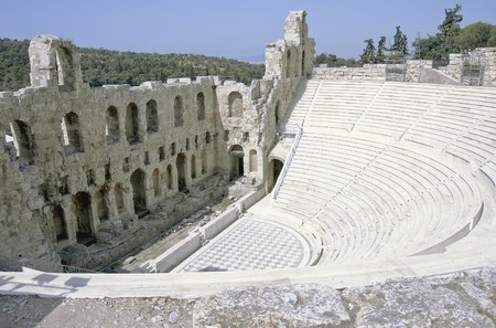 platon: Acropolis Odeon amphitheater ruins  built ca. 161 BC, by Herodes Atticus, Athens, Greece Stock Photo