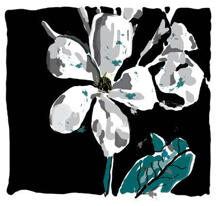Jasmin bloem water verf, gemaakt met penselen, vector