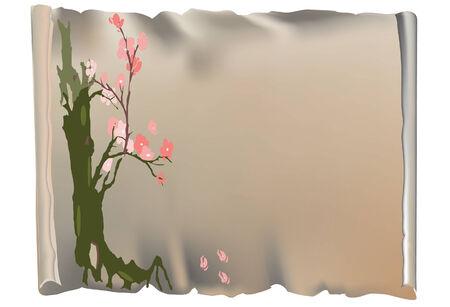 parchment and tree with pink flowers Ilustração