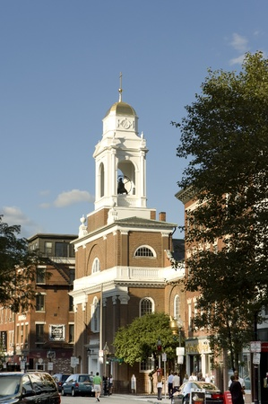 Boston, Mass, USA - September 3rd, 2005; Italian church with its golden bells tower  in popular  Italian district of Boston Stock Photo - 8995408