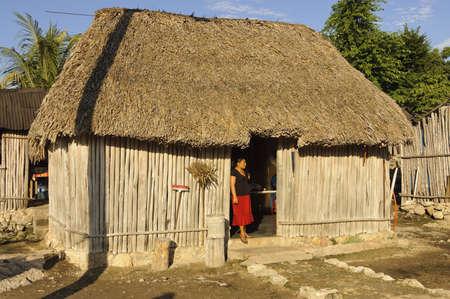 ユカタン、メキシコ - 2006 年 12 月 14 日;彼女の家は、メキシコのユカタン半島、ヤシの木で作られた屋根の前にマヤの女性