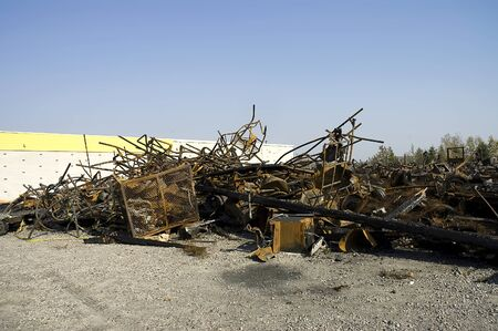 Quebec, Canada - October 5th,2005 : Abandonned scrapyard metal after a big fire in Quebec country, Canada 報道画像