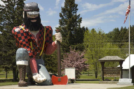 Minnesota, USA - May 19th, 2006 : close view of the statue of Paul Bunyan the giant lumberjack, mythical hero of the lumber camps, in memorial park on roadside of Akeley village, Minnesota, USA, May 19th, 2006 Editorial
