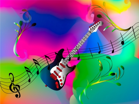 blue guitar with music notes - mesh work Illustration