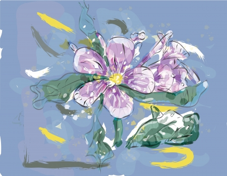 Pink Jasmin flower in watercolor over a blue  background - made with brushes