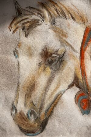 soft pastel horse head handmade pastel pencils a white paper art (I am the only author of this artwork).
