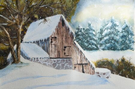 水彩、ガッシュでホームのカナダの冬の田舎。(私はこの作品の唯一の著者)
