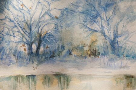 Landscape winter watercolor painting,  handmade on a white paper art  I am the only author of this artwork  Stok Fotoğraf