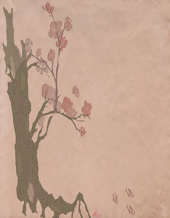 illustration of old textured  paper with drawing of  tree and pink flowers