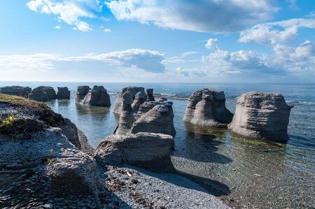 Monoliths of Mingan Archipelago National Park Reserve of Canada Stock Photo - 44175479