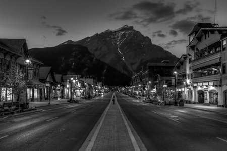 Banff, Alberta, Canada - June 1,2009 : night view of Main street of Banff townsite in Banff National Park, Alberta
