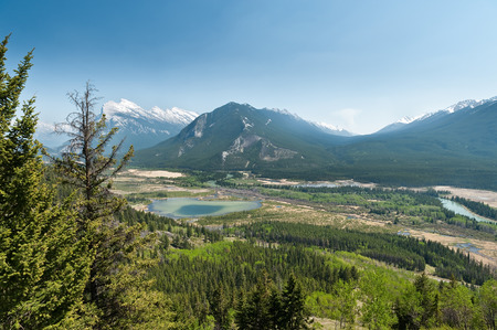 hiking trail of Cory Pass with view of Bow Valley and Mount Norquay, Banff National Park, Alberta, Canada