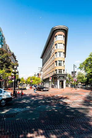 Vancouver, British Columbia,Canada - June 26, 2006 : Hotel Europe with street scene in the old historic area of Gastown,Vancouver