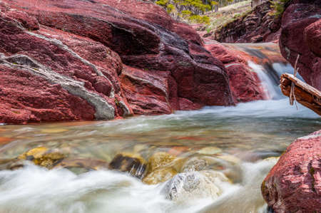 Red Rock creek in motion and canyon in Waterton Lakes National park,Alberta, Canada