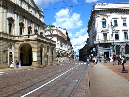 View of the street, the exterior of La Scala, Milan.