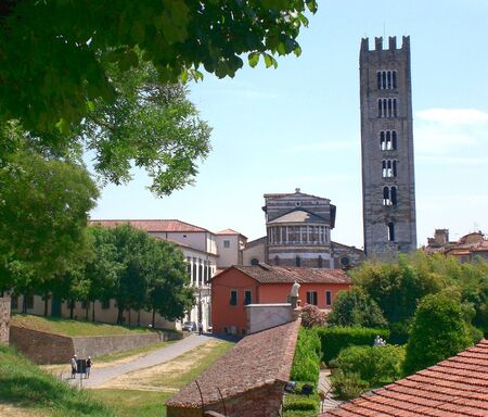 Old Town, view from the wall, Lucca Tuscany.