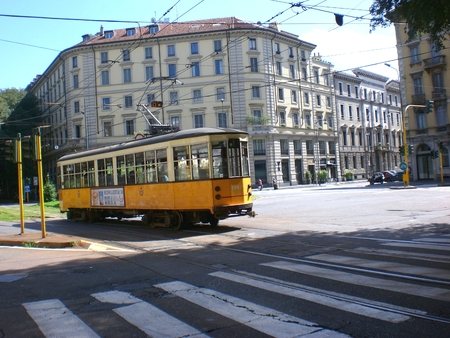 Old traditional tram in Milan. August 16, 2014