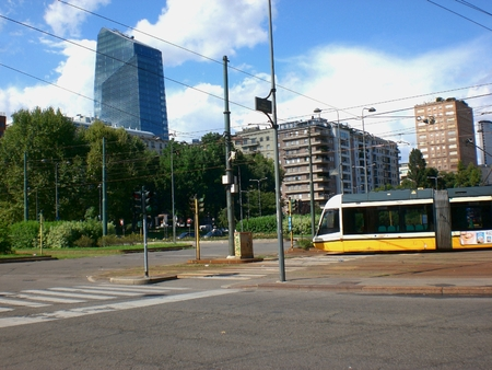 Modern tram in Milan. August 16, 2014 Editoriali